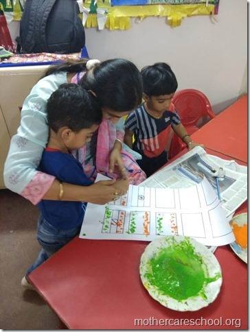 Children making national flag (2)